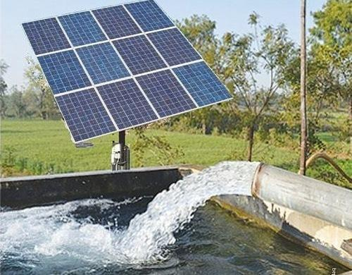 Solar Power Used For Pumping Up Water From River To